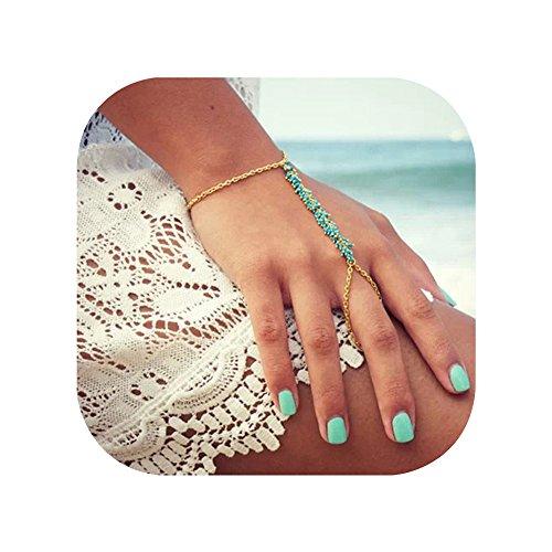 (Hanloud Boho Beads Finger Ring Bracelet Blue Beads Tassel Delicate Gold Chain Slave Bracelet for women)
