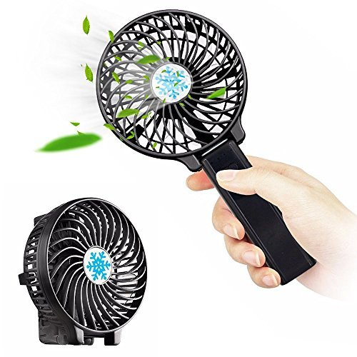 WuuYe Portable Handheld Fan, Personal Battery Operated Folding Fan with Two 2200mAh Batteries Mini USB Desk Fan for Travel & Camping, Strong Wind with SOS Light 3 Settings (black)