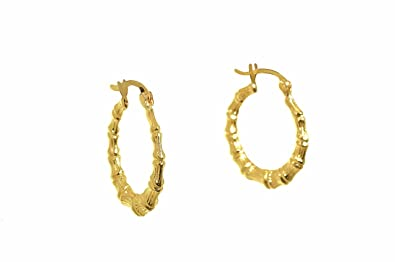 52668321d Image Unavailable. Image not available for. Color: 14K Yellow Gold Bamboo  Hoop Earrings