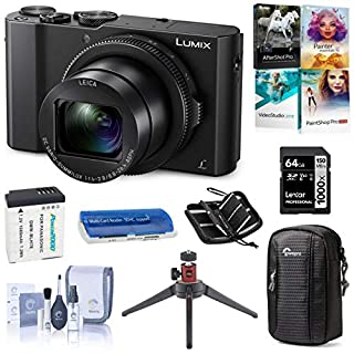 Panasonic Lumix DMC-LX10 4K Digital Point and Shoot Camera, 20.1 Megapixel 1-inch Sensor Bundle with Case, 64GB SD Card + Case + Reader, Extra Battery, Tripod, Corel PC Software Kit, Cleaning Kit