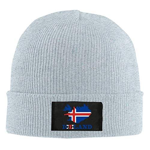 Abfind Berretto con bandierina Islanda Beanie Hat Berretto Invernale Lavorato a Maglia per Cappellino Nero per Unisex