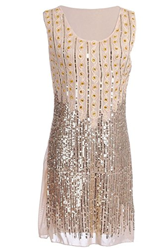 Vikoros Women's 1920s Sequin Embellished Beaded Fringe Origami Flapper Dress