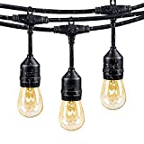 Vintage Style Outdoor Commercial Patio String Lights w/Incandescent 11S14 Bulbs, 48-Feet, 15 Lights, 15 Heavy-duty Molded E26 Base Rubber Light Sockets on a 48-feet String, UL Listed for Indoor and Outdoor Use, Add a nostalgic, ambient feeling to any environment