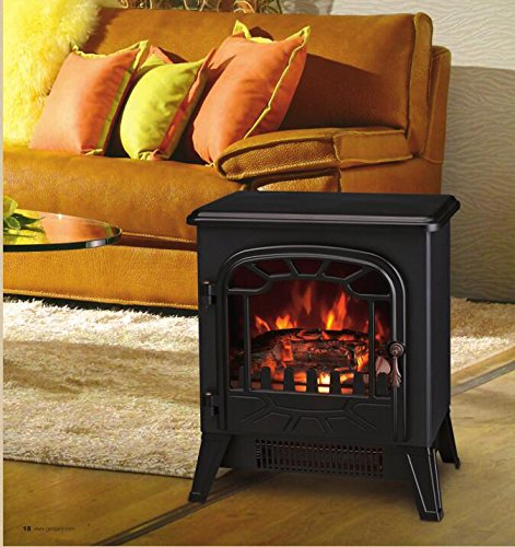 Lincsfire New 1850W Portable Electric Stove Fire Place Fireplace Heater Freestanding | Log Burning Flame Effect | 2 Heat Settings Manufacturered for Lincsfire
