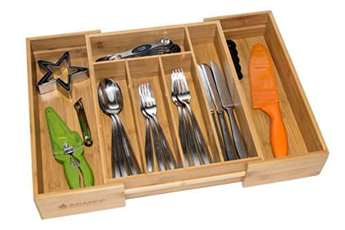 Large 3 Inch Deep Expandable Bamboo Wood Cutlery Tray