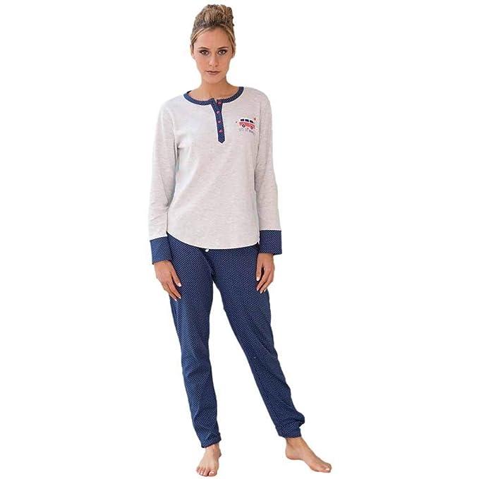 MASSANA Pijama de Mujer Estampado P681211 - Gris Vigore, L