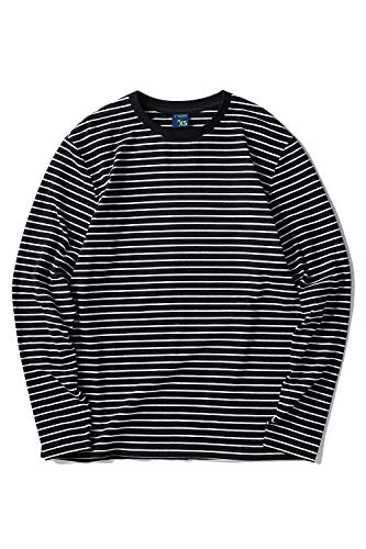 Zengjo Men's Casual Cotton Spandex Striped Crewneck Long-Sleeve T-Shirt Basic Pullover Stripe tee Shirt (S, Black&White Narrow)