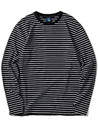 Men's Casual Cotton Spandex Striped Crewneck Long-Sleeve T-Shirt Basic Pullover Stripe tee Shirt