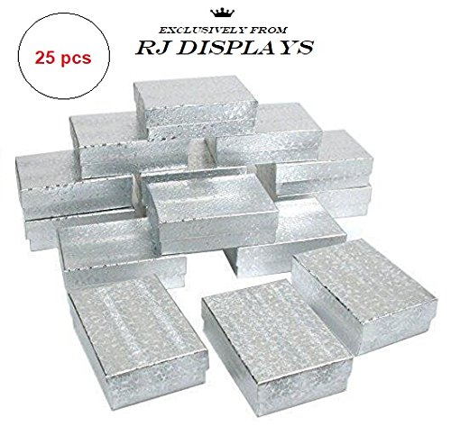 Boxes Charm Pendant Jewelry Silver (RJ Displays- 25 Pack Cotton Filled Silver Linen Jewelry Box for Pendant, Charm, Bracelet, Anklet, Ring, Earring, Necklace Chain Jewelry and Small Gift 2 5/8 x 1 1/2