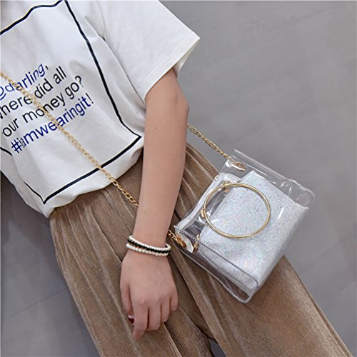 Handbag Pocket Shoulder Transparent ViewHuge PVC Bag Crossbody Interior with Chain Silver 7OwRFqA