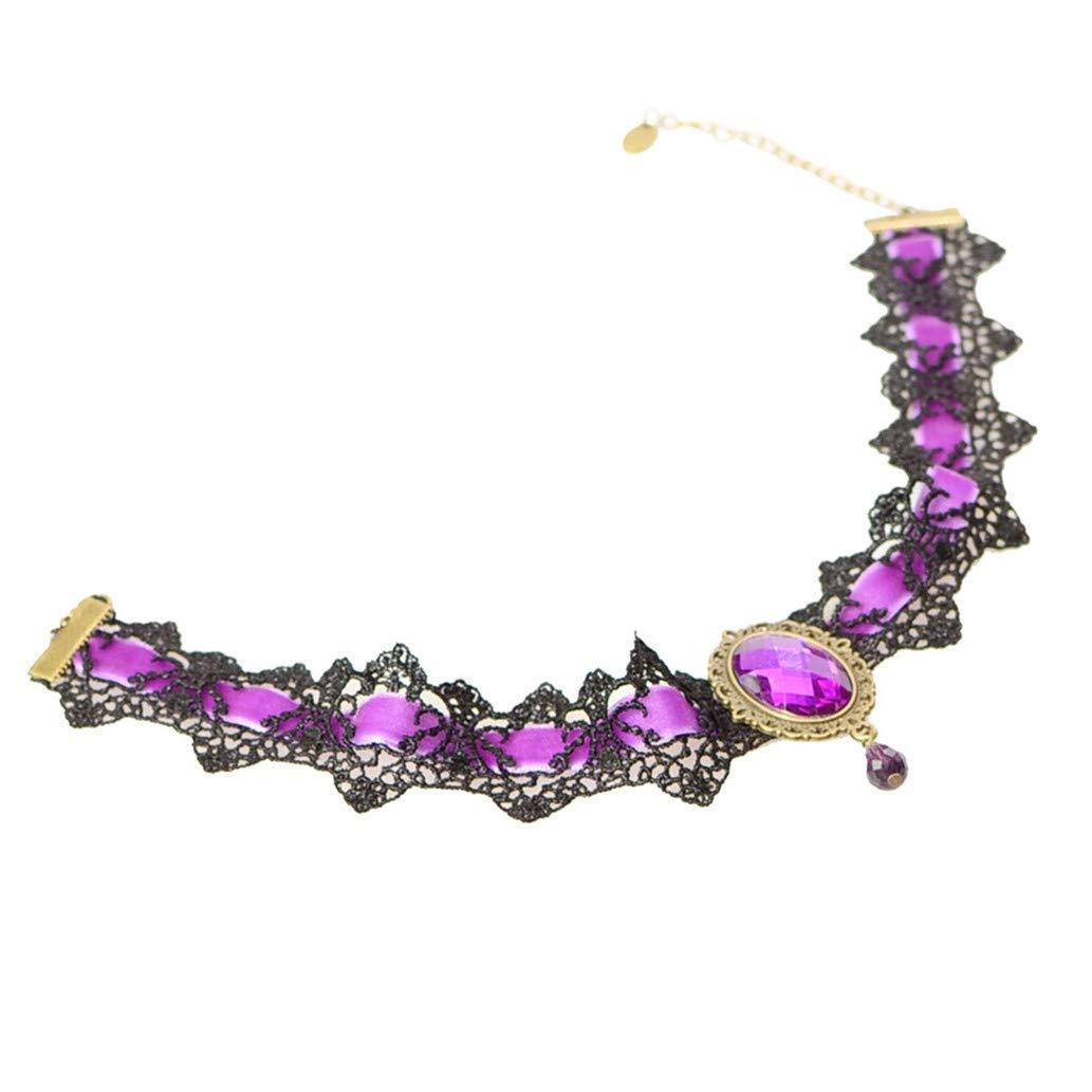 KISSFRIDAY Women Collar Choker Alloy Lace Fake Gemstone Rhinestone Pendant Necklace(Color 4)
