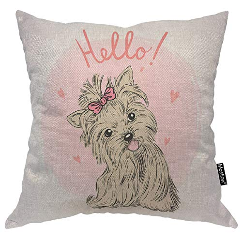 - Moslion Dog Decorative Pillow Case Cute Animal Puppy Girl Love Heart Bow Tie Throw Pillow Cover Square Accent Cotton Linen Home 18x18 Inch Brown Pink