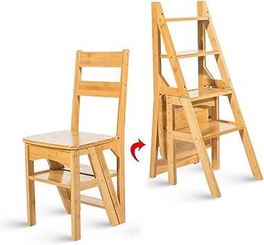 Escalera plegable taburete banqueta Escalera for estantes for personas mayores, Escalera de cocina liviana plegable de madera con paso ancho, paso 4, 90 kg: Amazon.es: Bricolaje y herramientas