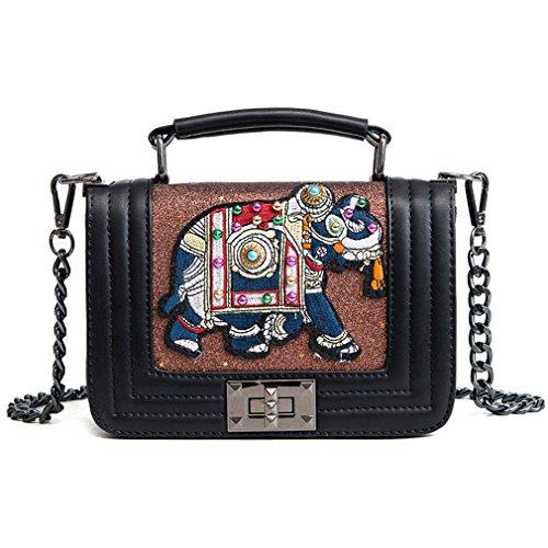 New Brown Shoulder ZJ Handbag Bag Elephant Women amp;OS Sequins Chains Embroidery Fashion 5PrqZxP