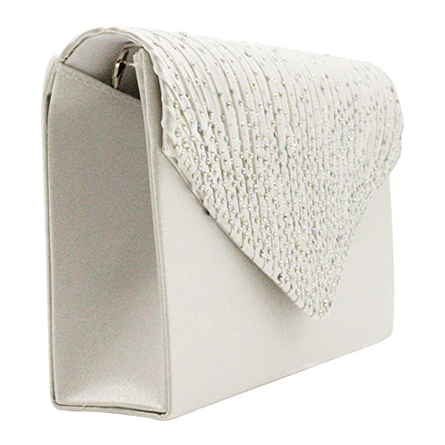 Bagsilver Handbag Purse Lady Pleated Party Wiwsi Satin Various ivory diamante Color Clutch qZxfRS