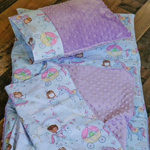 Unicorn Nap Mat for Toddler Girl Kindermat Cover with pillowcase and blanket by Carli's-Closet