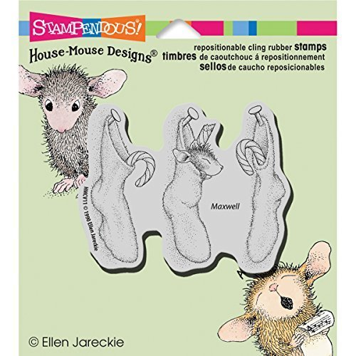 Stampendous Rubber House Mouse Cling Stamp 4.5-inch x 4.75-inch, Stockings Hung by Stampendous by STAMPENDOUS