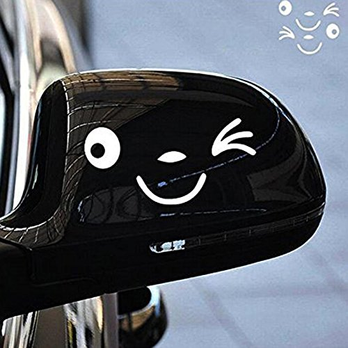Yonger 2 X Cute Smile Face 3D Decal Sticker for Auto Car Side Mirror L+R Rearview White by Yonger (Image #1)
