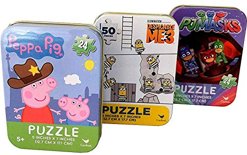 Bundle Set of 3 Mini Jigsaw Puzzles: Despicable Me Minions, PJ Masks, Peppa Pig (24/50 Pieces) in Collectible Illustrated Travel Tins -