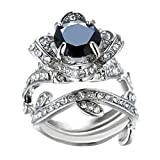 Challyhope Clearance! Women's Vintage Elegant Rose Diamond Silver Plated Engagement Wedding Band Ring (Black, 8)