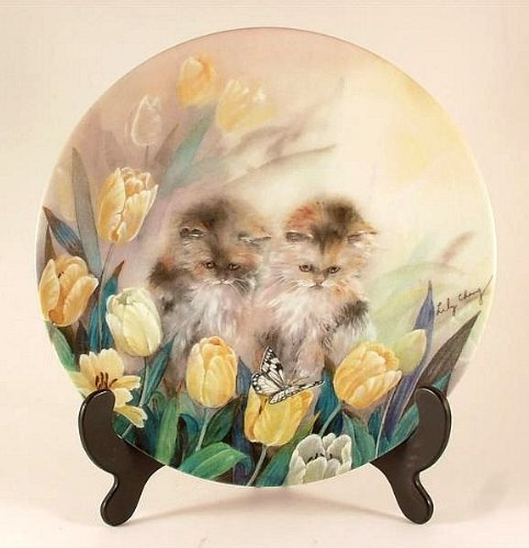 Bradford Exchange cat plate - Springtime Oasis by Lily Chang - Petal Pals collection - CP885