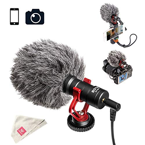 BOYA BY-MM1 Video Microphone Youtube Vlogging Facebook Livestream Recording Shotgun Mic for iPhone HuaWei Smartphone DJI Osmo Mobile 2,for ZHIYUN Smooth Q Smooth 4 Feiyu Vimble Canon Sony DSLR Cameras by BOYA