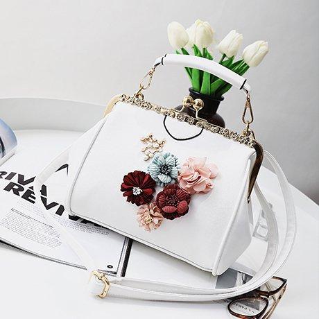 Flores Diseo Negro de con Flores blanco Mano Zazero Bolso y de RSxUU6