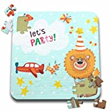 Uta Naumann Sayings and Typography - Cute Baby Safari Lion Typography On Blue Polkadots - Lets Party - 10x10 Inch Puzzle (pzl_275543_2)
