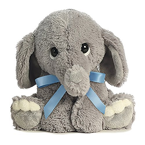 Ellas Bundle of Joy Lil Benny Phant Plush - Grey Elephant with Blue Ribbon (Blue Elephant)