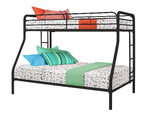 DHP Twin-Over-Full Bunk Bed with Metal Frame and Ladder, Space-Saving Design, Black by DHP (Image #1)