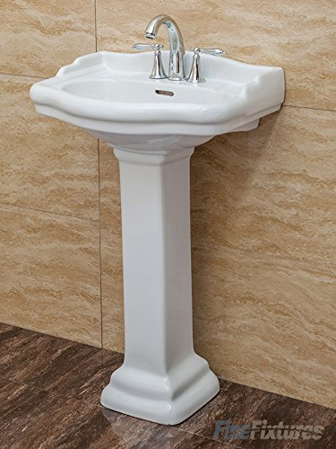 Fine Fixtures, Roosevelt White Pedestal Sink - 22 Inch Vitreous China Ceramic Material (4 Inch Faucet Spread Hole) by Fine Fixtures