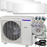 Pioneer Air Conditioner Inverter++ Ductless Wall Mount Multi Split System Air Conditioner & Heat Pump Full Set, Triple (3) Zone