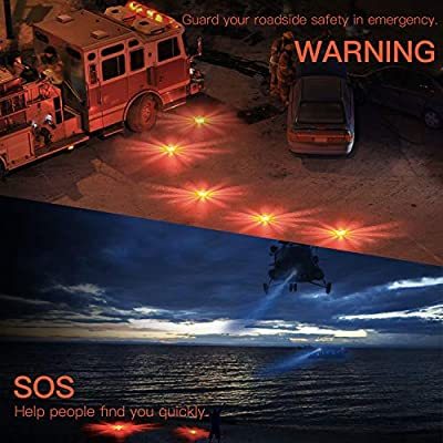 SlimK Road Flares - LED Emergency Flare Safety Flashers for Roadside Traffic Breakdown Survival,Electronic Signal Flares Kit- Magnetic Back to Vehicle Car Boat Motorcycle Upgrade Version 3 Packs: Automotive