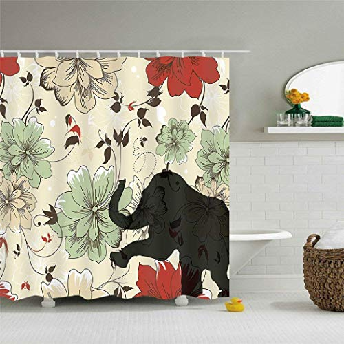 (GETTOGET Elephant Motley Flowers and The Shadow of Elephant Print Red Green Brown Bathroom Shower Curtain Sets Hooks, Waterproof Polyester Curtain Festival Gift)