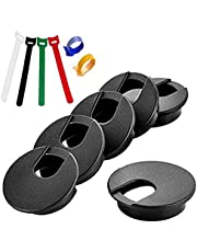 6 Pack Desk Grommet, 2 Inch Wire Grommet Desk Cord Hole Cover with 6 Fastening Cable Ties Desk Wire Cable Grommet for Home Office