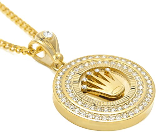 Censtusllery Hip Hop Alloy Crystal Crown Round Tag Pendant Chain
