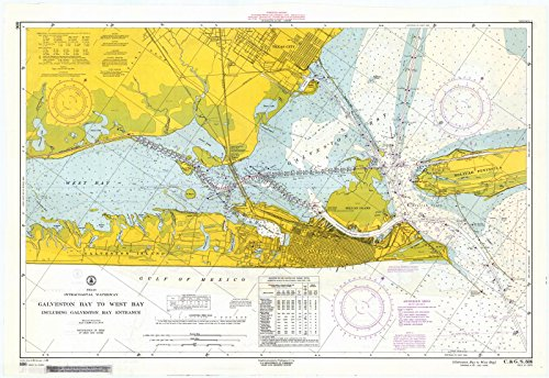 Map   Galveston Bay To West Bay, 1962 Nautical NOAA Chart   Texas (TX)   Vintage Wall Art   63in x 44in