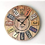 GZD Simple Rustic Style Wall Clock,Nordic Color Printing Wooden Round Wall Clock Living roon