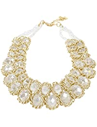 Ladies Chunky Choker Statement Necklace Gold Tone Translucent Crystals Collares de Mujer