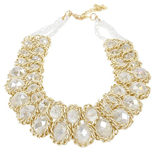 ShoppeWatch Ladies Chunky Choker Statement Necklace Gold Tone Clear Crystals Collares de Mujer ()