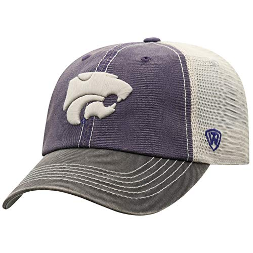 State Wildcats Cap - Top of the World Adult Unisex's Offroad Snapback Mesh Back Adjustable Hat, Kansas State Wildcats Purple, One Size