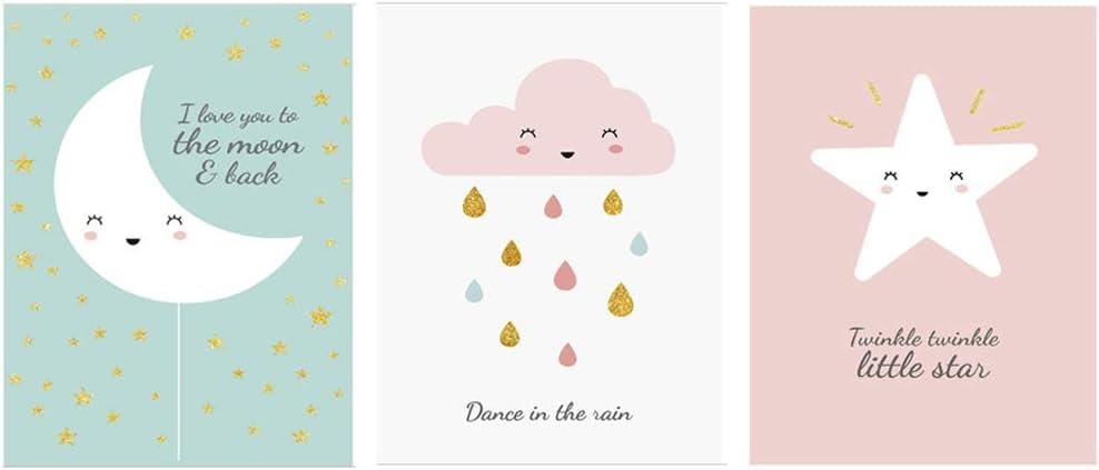 Fran Juego de 3 pósteres para habitación Infantil Dibujos Animados Estrellas Luna Linda decoración