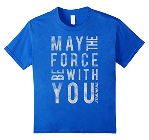 Kids Star Wars May The Force Be With You Scrambled T Shirt 6 Royal Blue