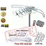 LAVA HD2805 Remote Controlled Rotation Long Range Outdoor HD TV 4K TV Antenna Installation Kit