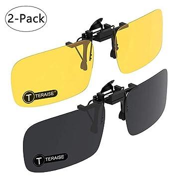 TERAISE Gafas De Sol Con Clip, 2 Pares/Día + Visión Nocturna Hombres/Mujeres Gafas De Sol Polarizadas Con Solapa Uv400, Convenientes y Seguras Ajuste ...