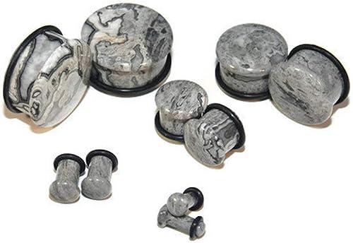 """Wave Jasper Single Flare Stone Plugs New! 8G - 5//8/"""" Sizes // Gauges"""