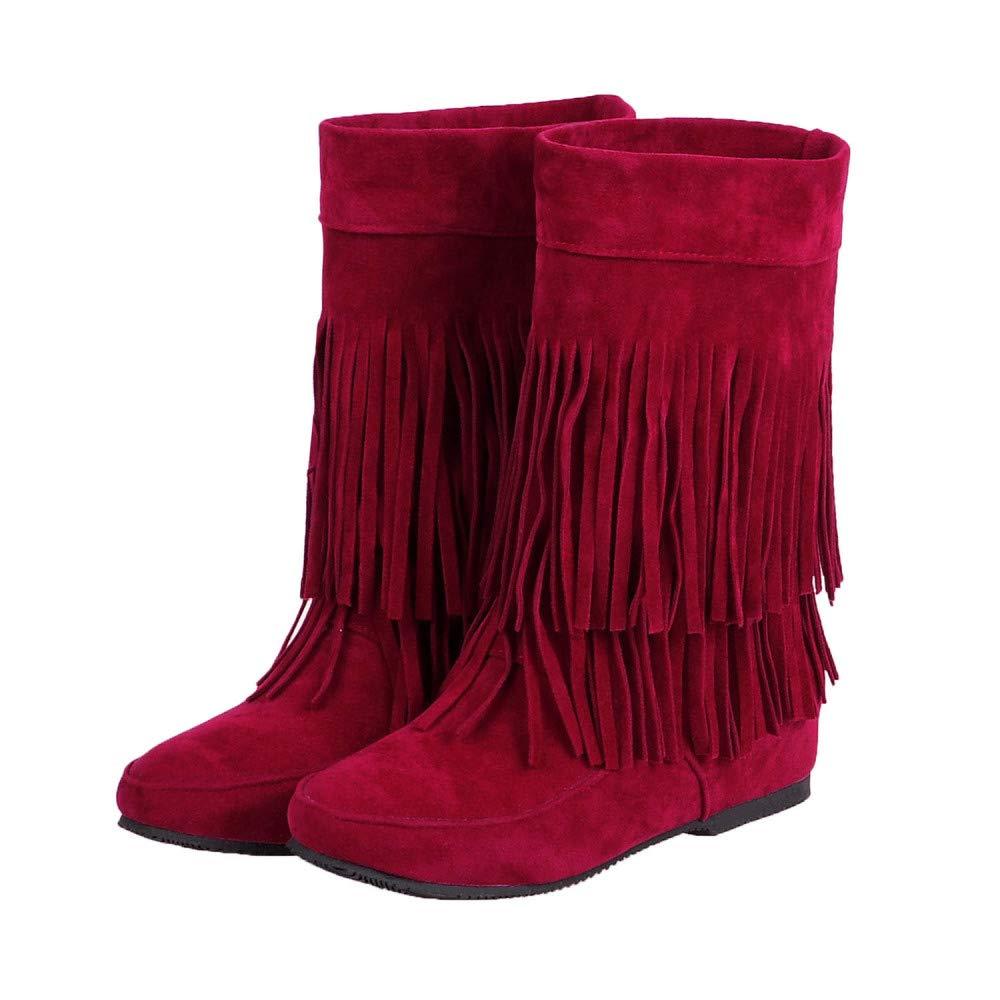QINGMM Frauen Wildleder Fransen Herbst Stiefel 2018 Herbst Fransen Flache Mode Booties,rot,34 EU - 079802
