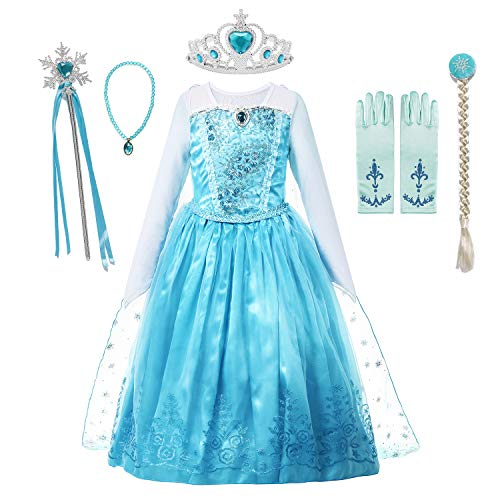 MUABABY Girls Ice Snow Queen Sequin Princess Upgrade Deluxe Costume Long Sleeve -