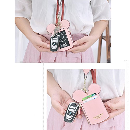 Women's Travel Neck Pouch,Cute PU Leather Coin Wallet Zipper Hanging Rope Purse Passports Card Bag
