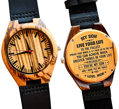 to My Son Gift – Engraved Wooden Wrist Watch for Men Wood Personalized Wedding Christmas Birthday Graduation Gifts